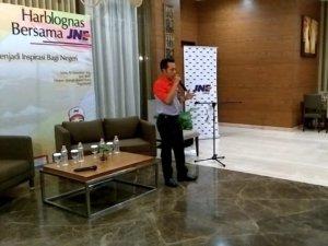 Sambutan dari Branch Manajer JNE Yogyakarta, Adi Subagja