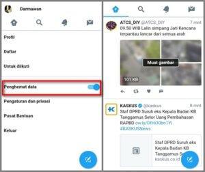 Mengaktifkan Penghemat data di Twitter Lite