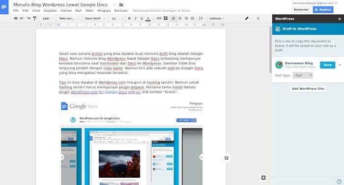 Menulis Blog WordPress Lewat Google Docs