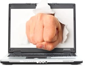 Fist from laptop