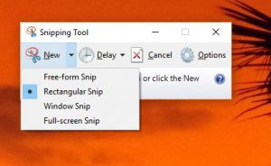 mengambil screenshot windows 10 snipping tool