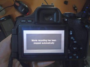 dslr video berhenti beberapa detik