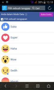 Membuat Tanggapan di Facebook Mobile
