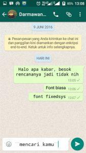 Kirim Chat Dengan Font FixedSys di Whatsapp