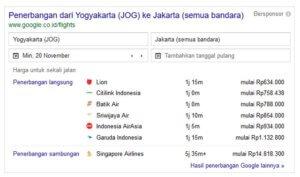 Google Flight di Hasil Pencarian Google
