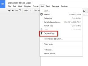 Memasukkan Catatan Google Keep ke Google Docs
