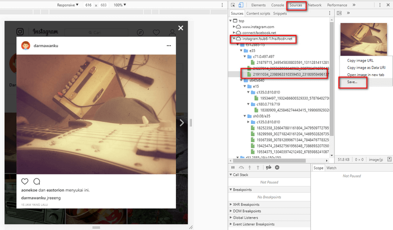 Download Foto Instagram di Chrome Desktop | Darmawan Blog