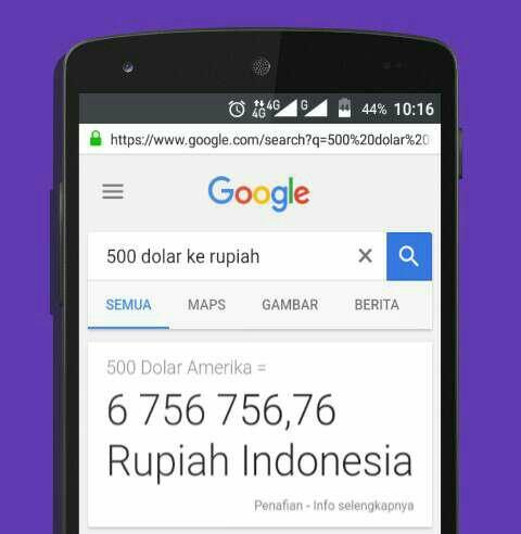 Hitung Dolar Ke Rupiah dengan Google Search