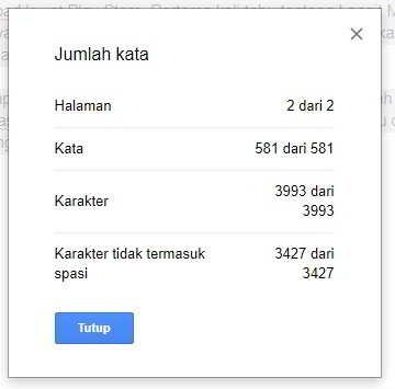 Menghitung Jumlah Kata di Google Doc