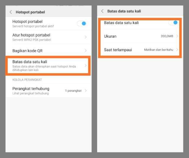 Membatasi Kuota Hotspot Ponsel Xiaomi