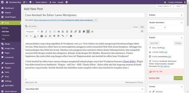 Cara Kembali Ke Editor Lama WordPress