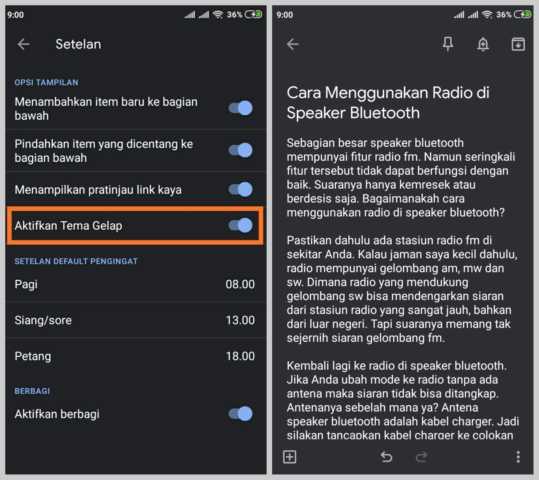 Mengaktifkan Mode Gelap di Google Keep Android