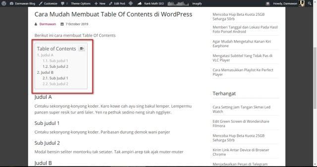Cara mudah membuat Table of Contents di WordPress