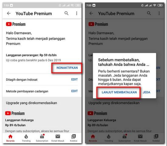 Cara Membatalkan Berlangganan Youtube Premium