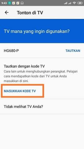 Cara Menggunakan Kode TV Youtube