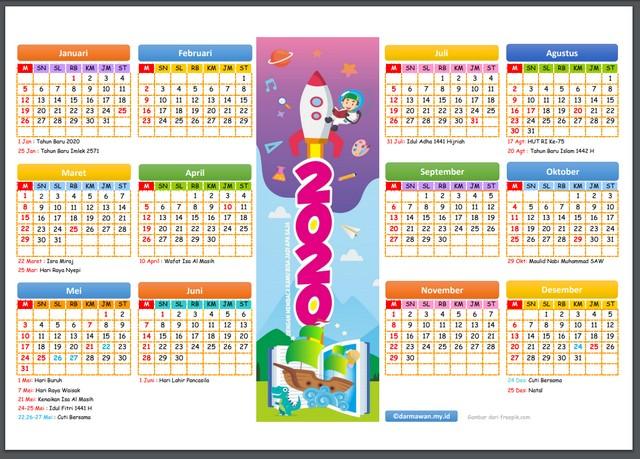 Kalender 2020 Versi Excel dan Pdf