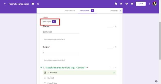 Membuat Ujian Online Dengan Penilaian Otomatis di Google Form