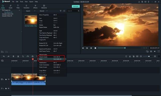 Menghilangkan Suara Video di Wondershare Filmora