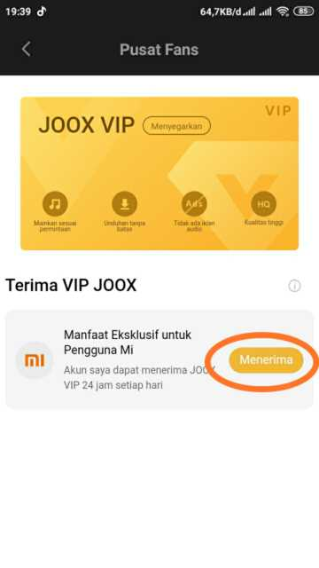 Cara Mendapatkan Joox VIP Gratis di Mi Musik
