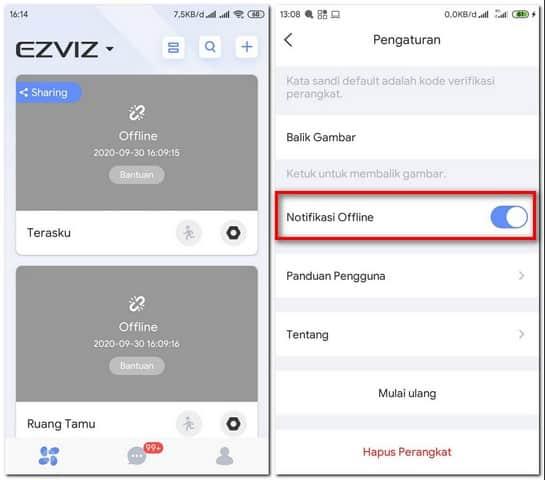 Mengaktifkan Notifikasi Offline di Ipcam Ezviz