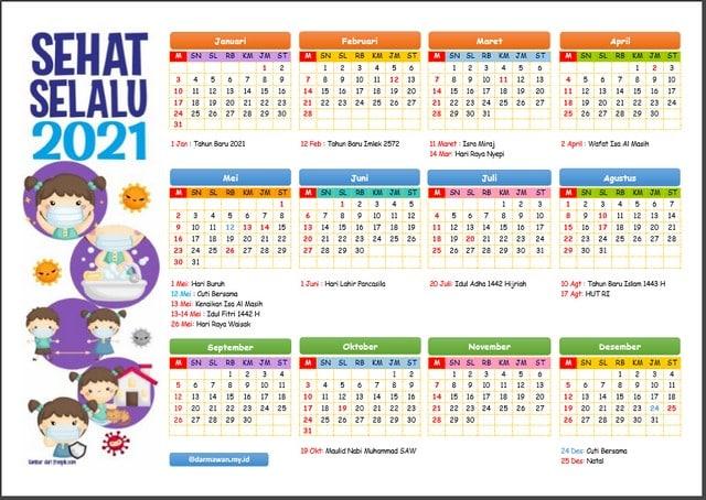 Kalender 2021 Versi Excel dan Pdf